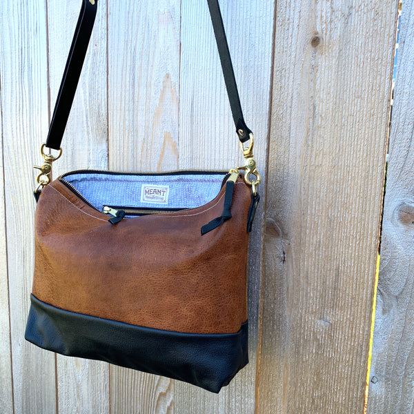 The Alsea Crossbody- Two Tone Leather - Meant Mfg.