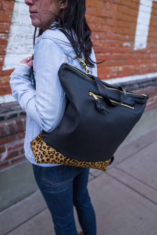 Rogue Backpack + Outsize pocket in Perforated Leather and Leopard - Meant Mfg.