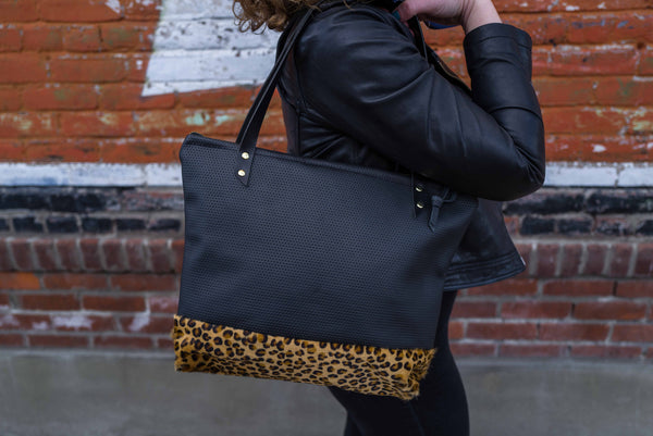 The Mercer Tote in Perforated Leather + Leopard - Meant Mfg.