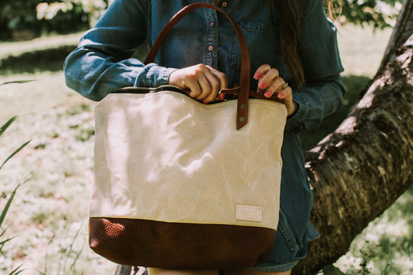 The Cascade Tote in Waxed Canvas and Leather - Meant Mfg.