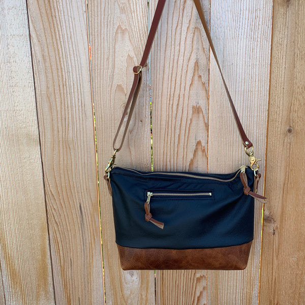 The Alsea Crossbody + Outside Pocket in Two Tone Leather - Meant Mfg.