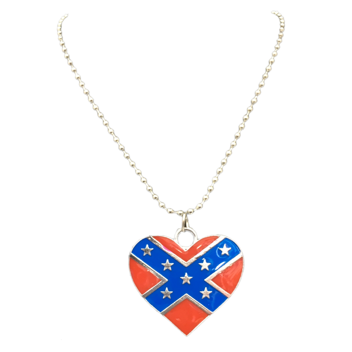 "14"" Heart Confederate Flag Necklace"