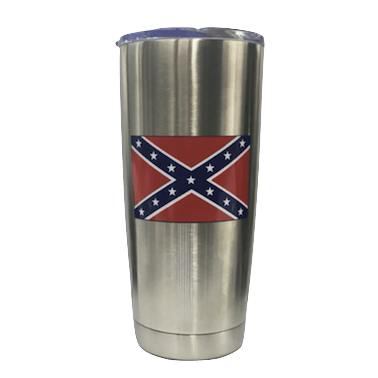 20oz Silver Confederate Flag Stainless Steel Tumbler