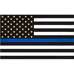 "3' x 5'  ""Thin Blue Line"" Black and White American Flag"