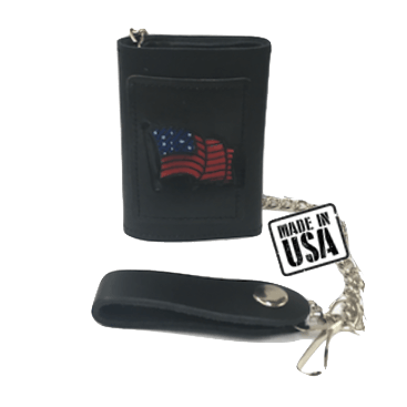 American Flag Black Leather Wallet