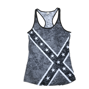 Black Confederate Burnout Tank Top