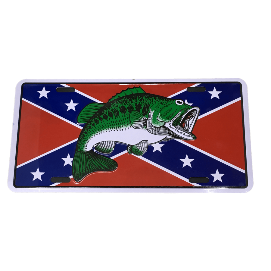 Confederate Flag Bass Fishing License Plate