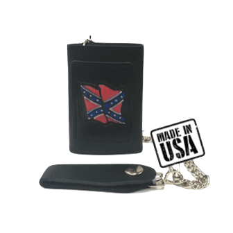 Confederate Flag Black Leather Wallet