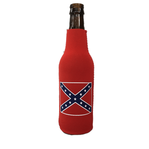 Confederate Flag Bottle Koozie - Red