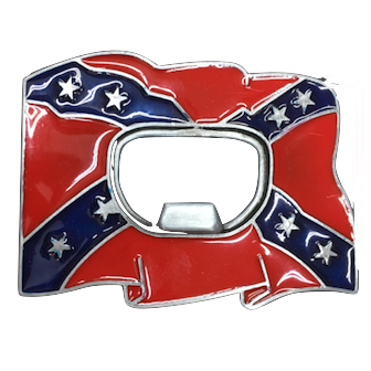 Confederate Flag Buckle w/ Beer Opener