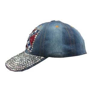Confederate Flag Denim Bling Hat