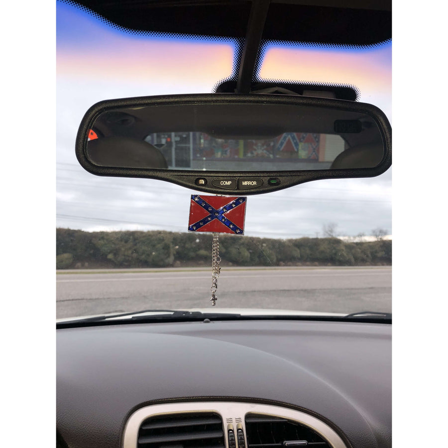 Confederate Flag Rear View Mirror Charm