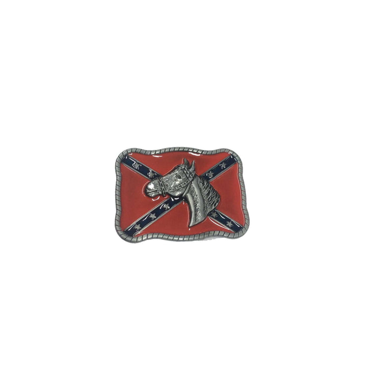 Confederate Flag With Horse Buckle