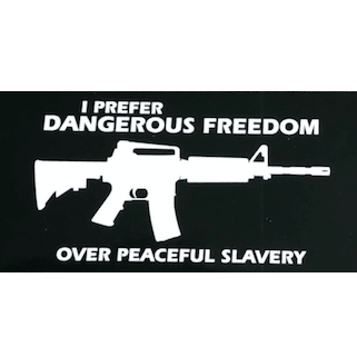 Dangerous Freedom Vs. Peaceful Slavery Sticker