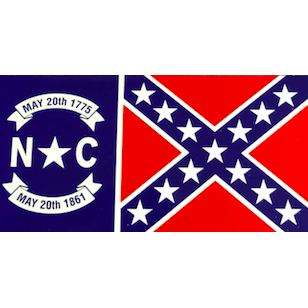 Flag of North Carolina with Confederate Flag Sticker