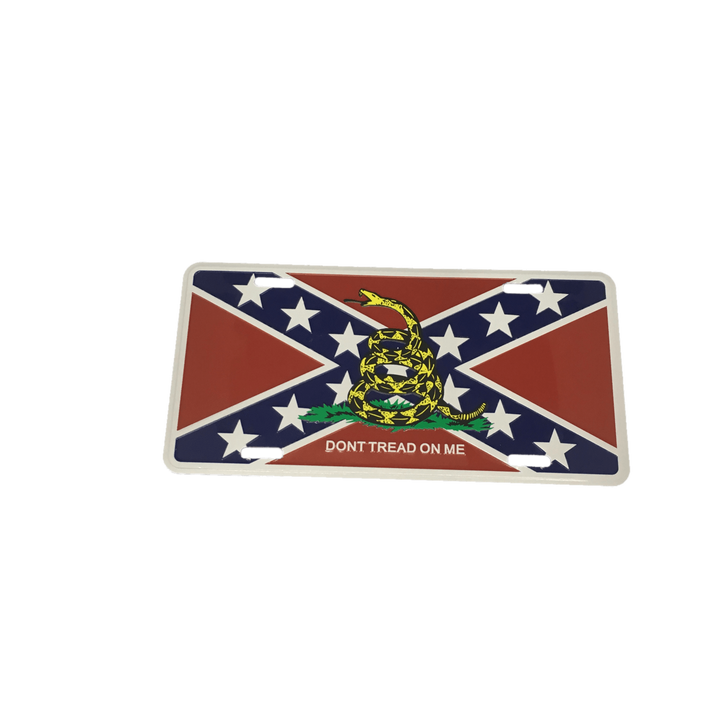 "Gadsden ""Don't Tread On Me"" on Confederate Flag License Plate"