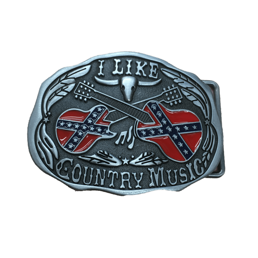 """I Like Country Music"" Confederate Flag Belt Buckle"