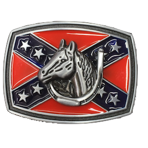 Lucky Horse w/ Confederate Flag Belt Buckle