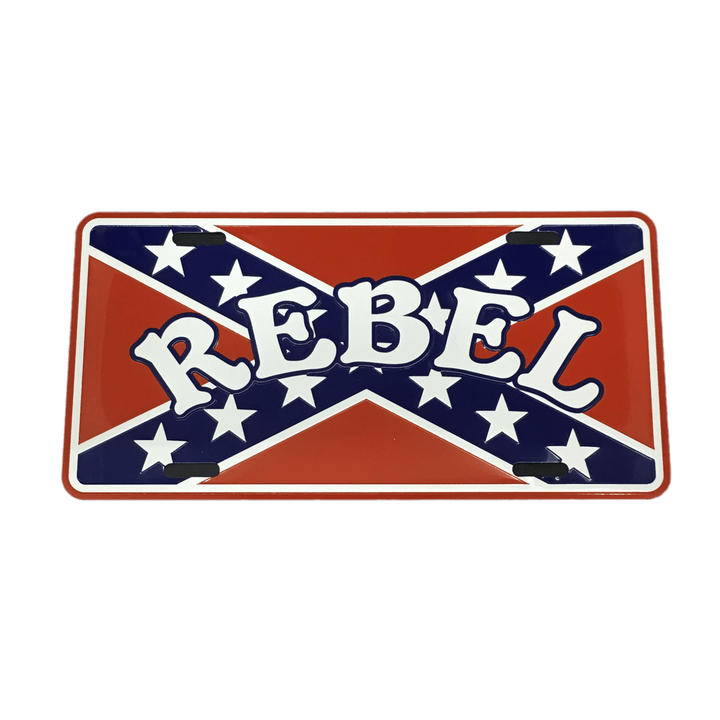 """Rebel"" Confederate Flag License Plate"
