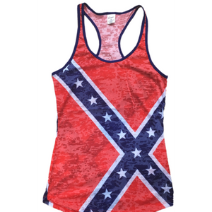 Red Confederate Flag Burnout Tank Top
