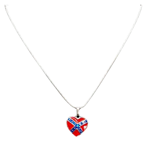 Small Confederate Flag Heart Necklace
