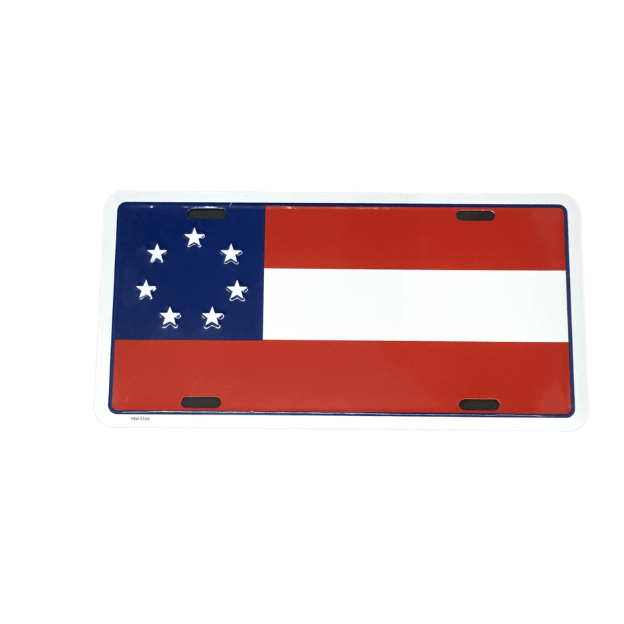 """Stars and Bars"" Confederate Flag License Plate"