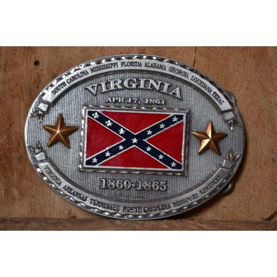 Virginia confederate flag belt buckle