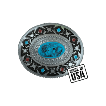 Western Blue Stone Belt Buckle