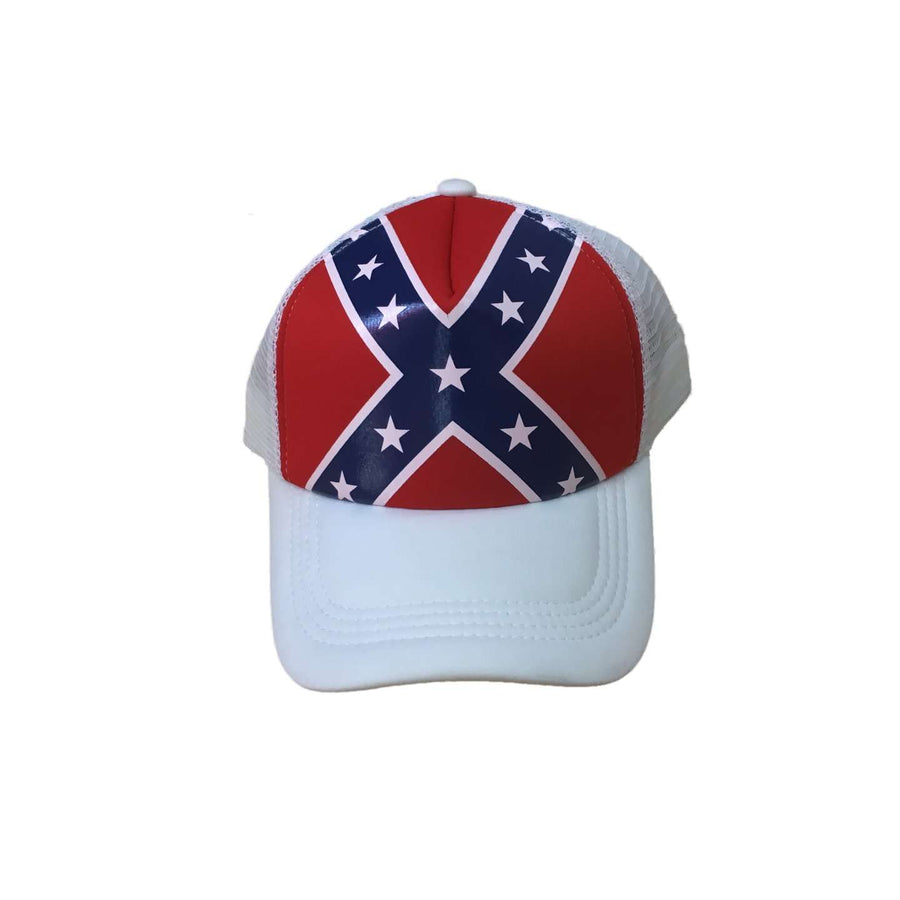 White Confederate Flag Trucker Hat