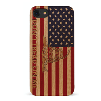 Wooden American Flag w/ Gadsden Snake iPhone Case
