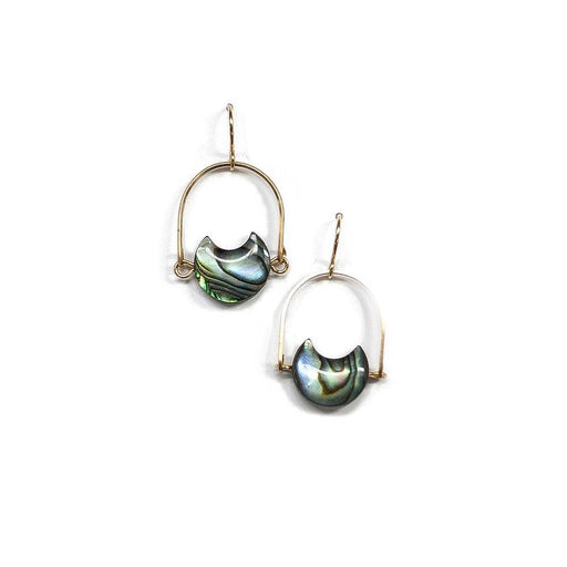 Mini Eclipse Earrings / Abalone with Brass - Michelle Starbuck Designs