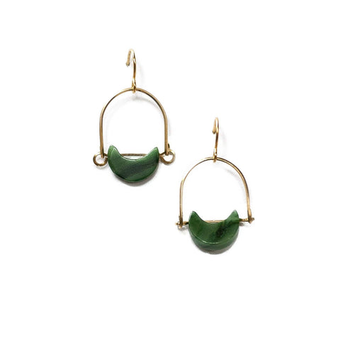 Mini Eclipse Earrings / African Jade