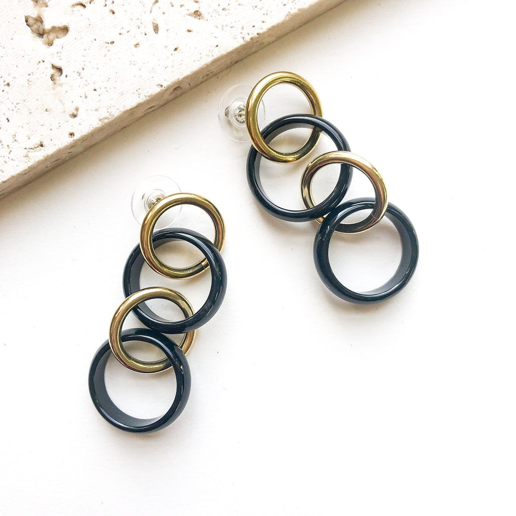 Long Black Agate Linked Loop Earrings - Michelle Starbuck Designs