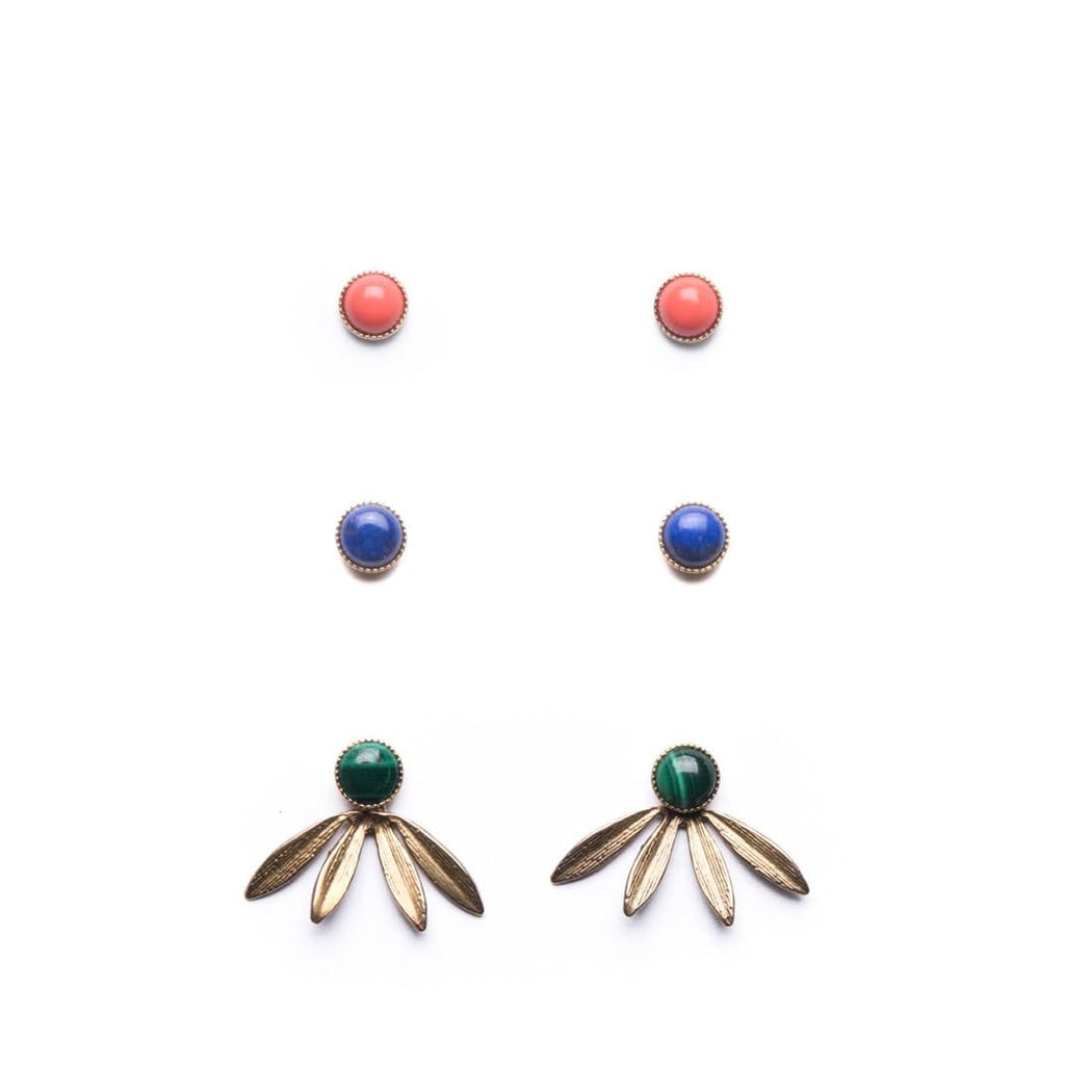 Laurel Jackets with Coral, Lapis, and Malachite Studs Set - Michelle Starbuck Designs
