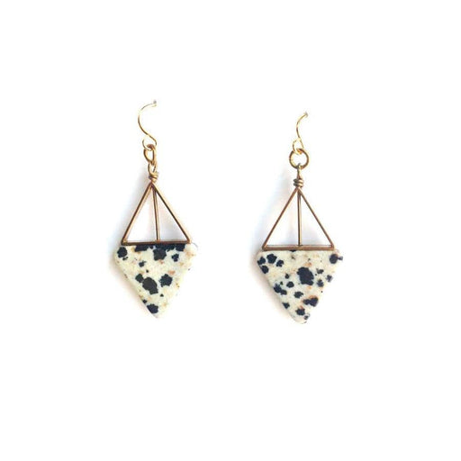 Double Triangle Earrings / Dalmatian Jasper - Michelle Starbuck Designs