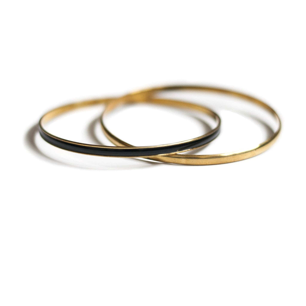 Vintage Black Enamel + Brass Double Bangle