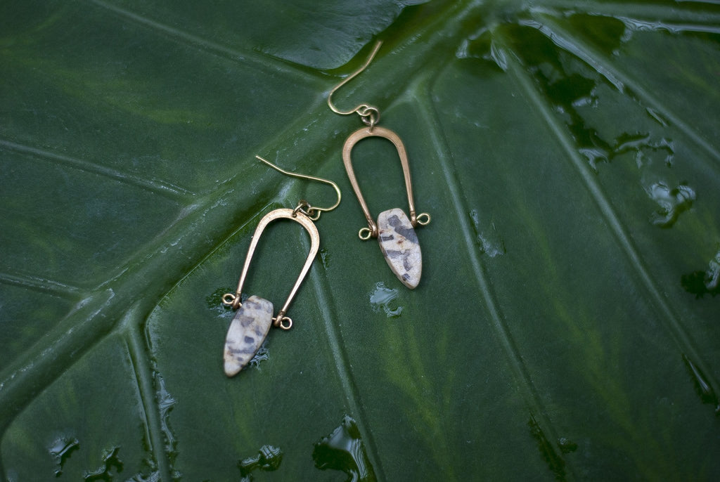 Amulet Earrings / Graphic Feldspar - Michelle Starbuck Designs