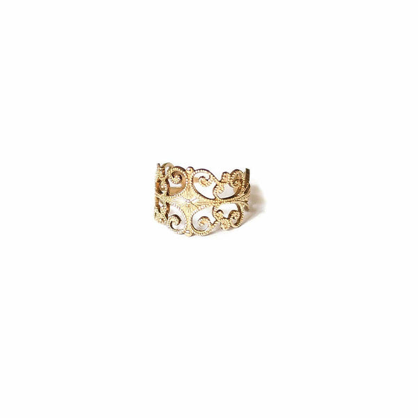 Vintage Brass Filigree Ring - Michelle Starbuck Designs