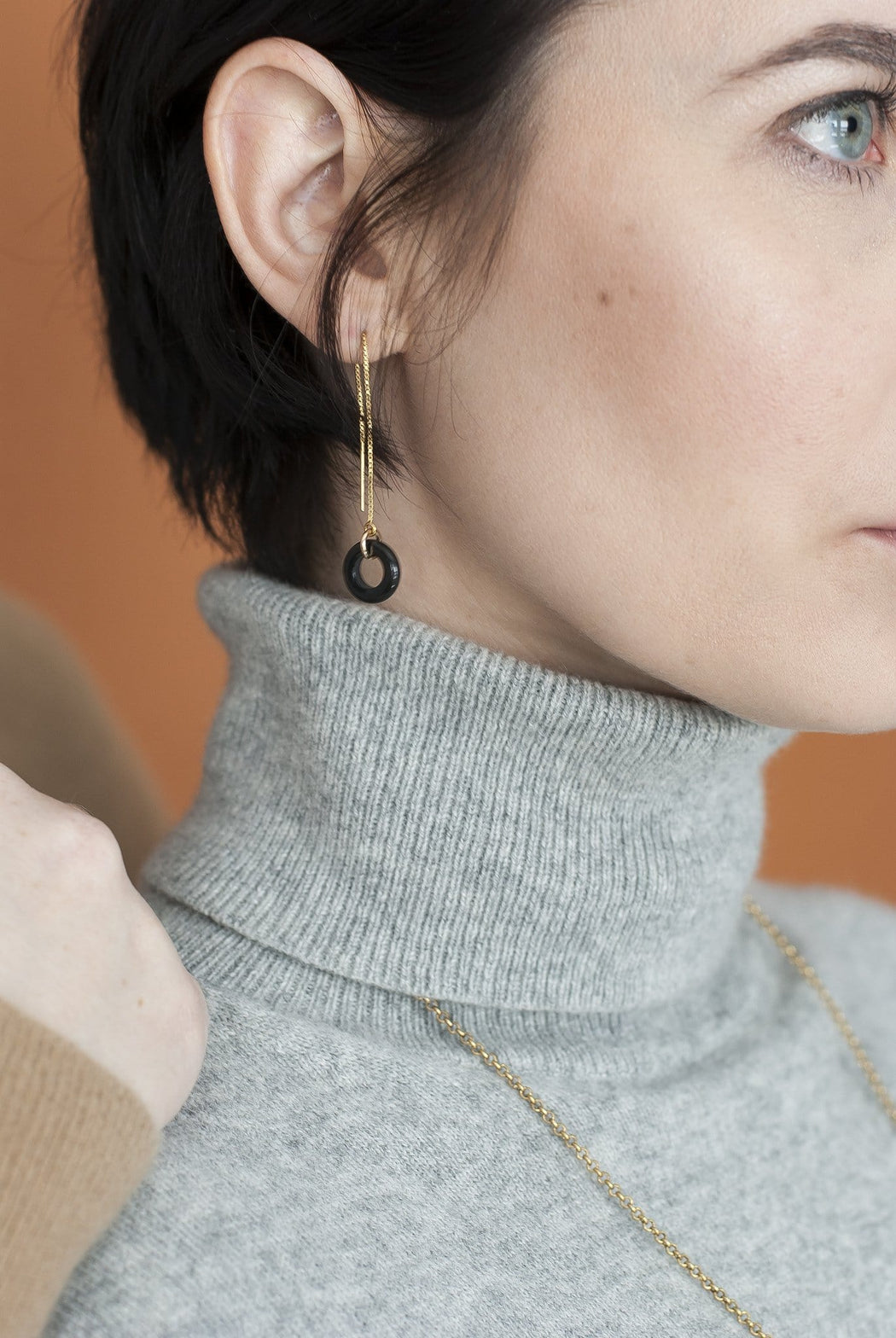 Loop Threader Earrings/ Black Agate and Gold - Michelle Starbuck Designs
