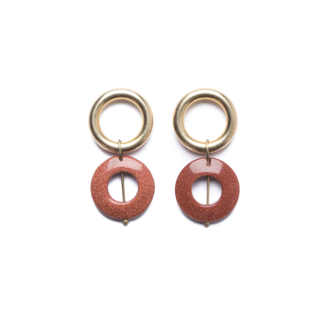 Goldstone Infinity Earrings - Michelle Starbuck Designs