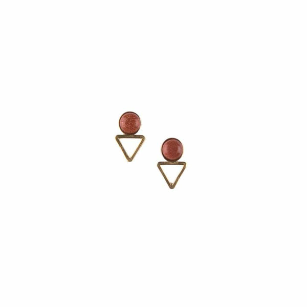Tiny Elder Studs / Goldstone - Michelle Starbuck Designs