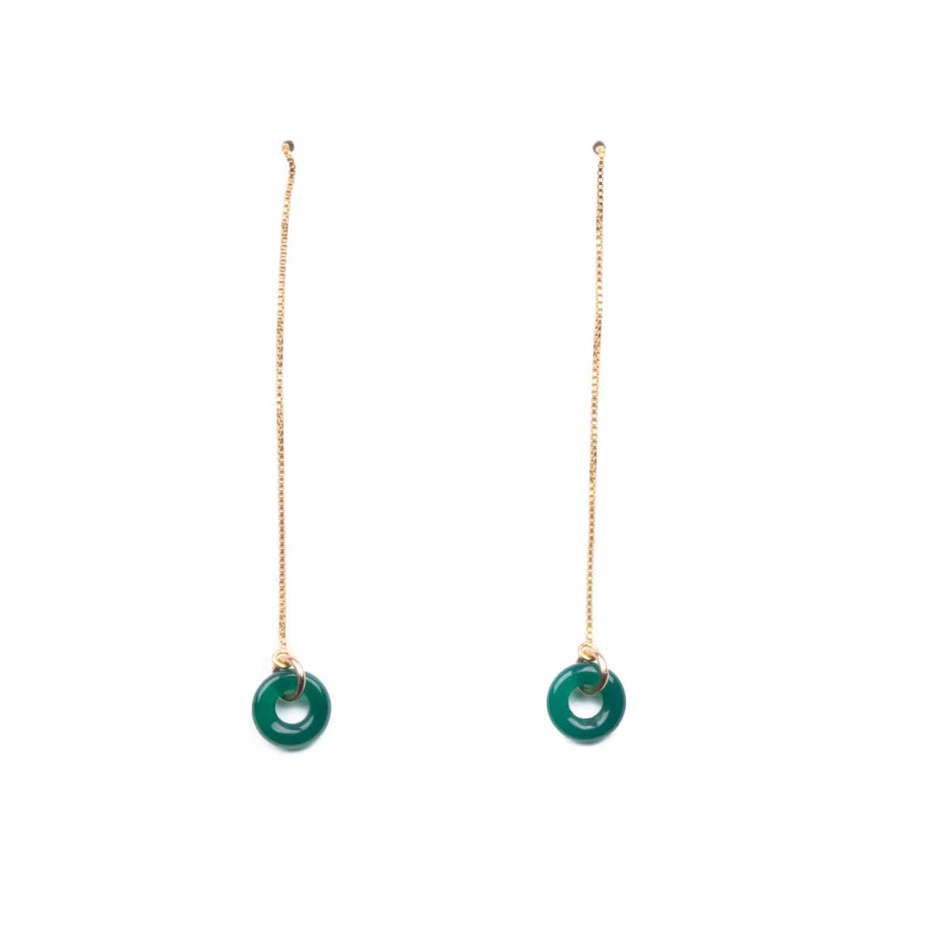 Loop Threader Earrings/ Green Agate - Michelle Starbuck Designs