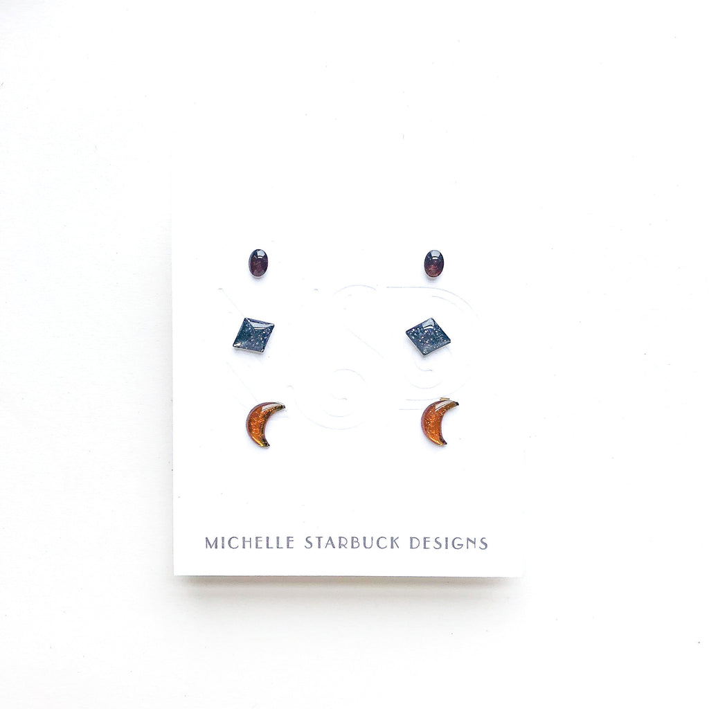 Vintage Enamel Studs Mystery Set (3 pairs) - Michelle Starbuck Designs
