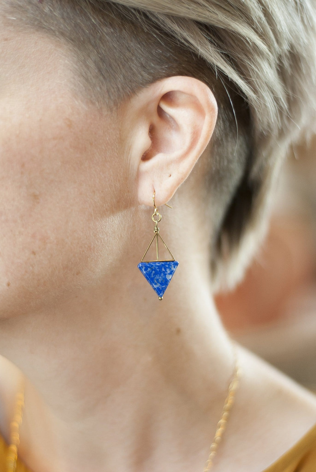 Double Triangle Earrings / Lapis - Michelle Starbuck Designs
