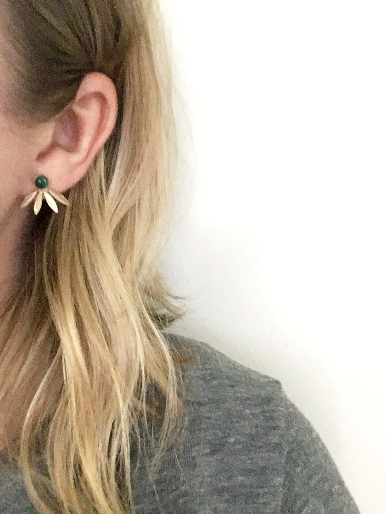 Onyx Studs with Laurel Jackets / Limited Edition - Michelle Starbuck Designs