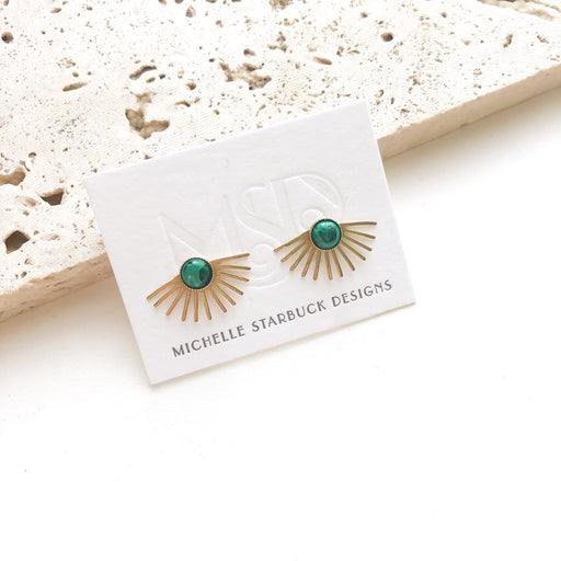 Beam Studs / Malachite - Michelle Starbuck Designs