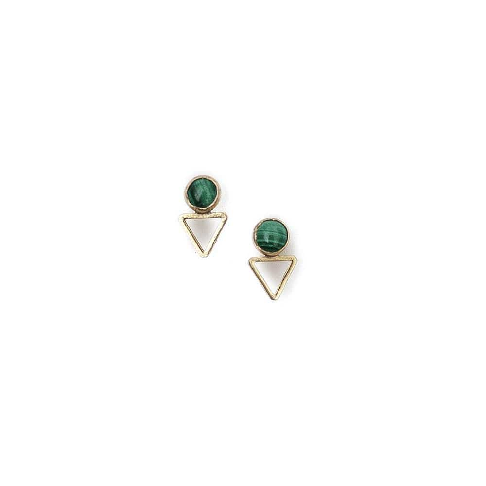 Tiny Elder Studs / Malachite - Michelle Starbuck Designs