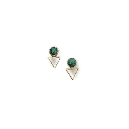 Tiny Elder Studs / Malachite