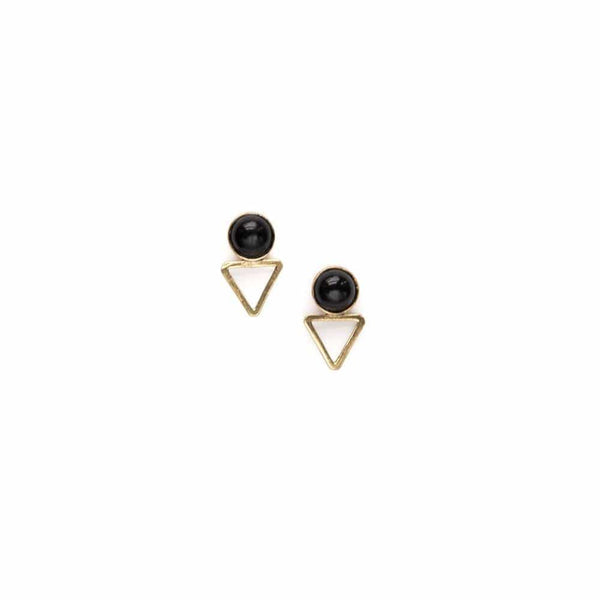 Tiny Elder Studs / Onyx - Michelle Starbuck Designs