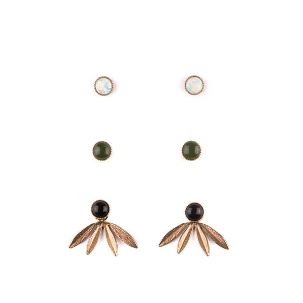Laurel Jackets with Opal, Jade, and Onyx Studs Set - Michelle Starbuck Designs